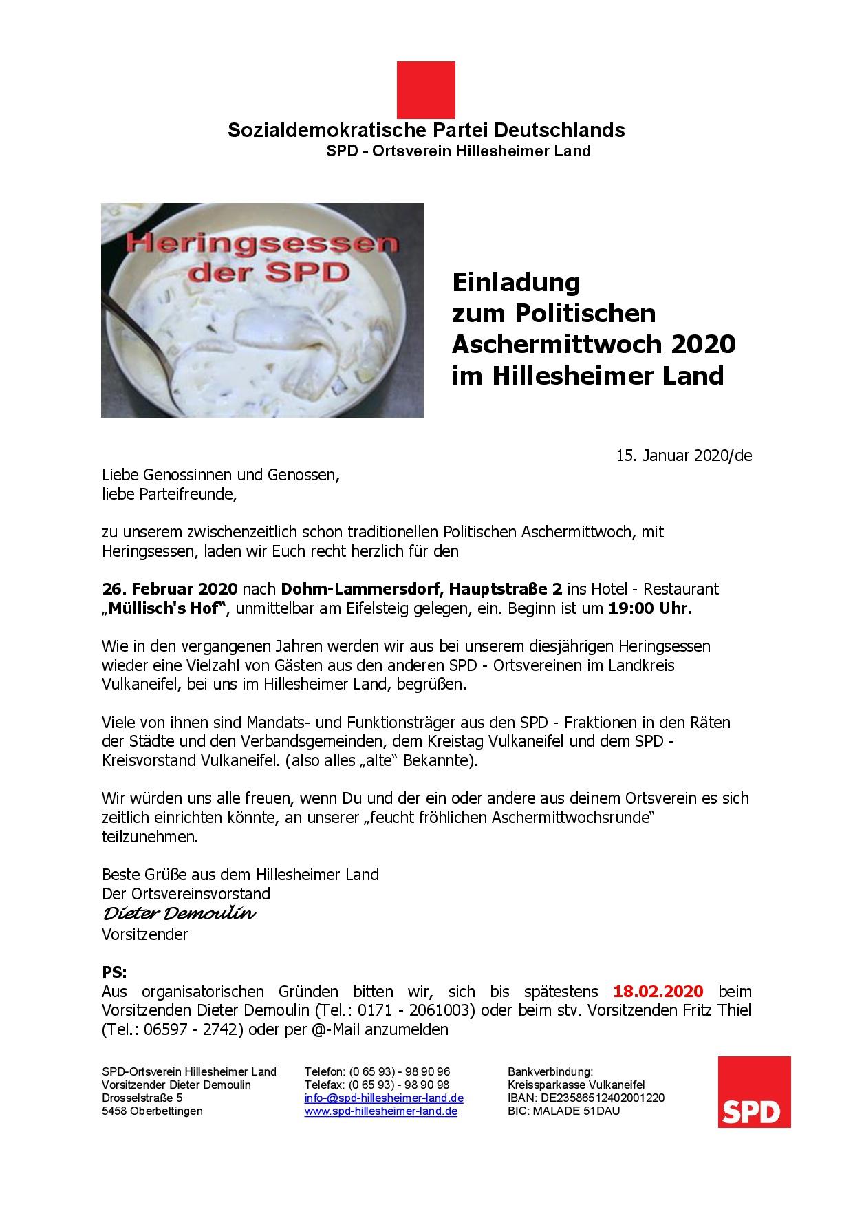 Einladung zum Politischen Aschermittwoch 2020 im Hillesheimer Land