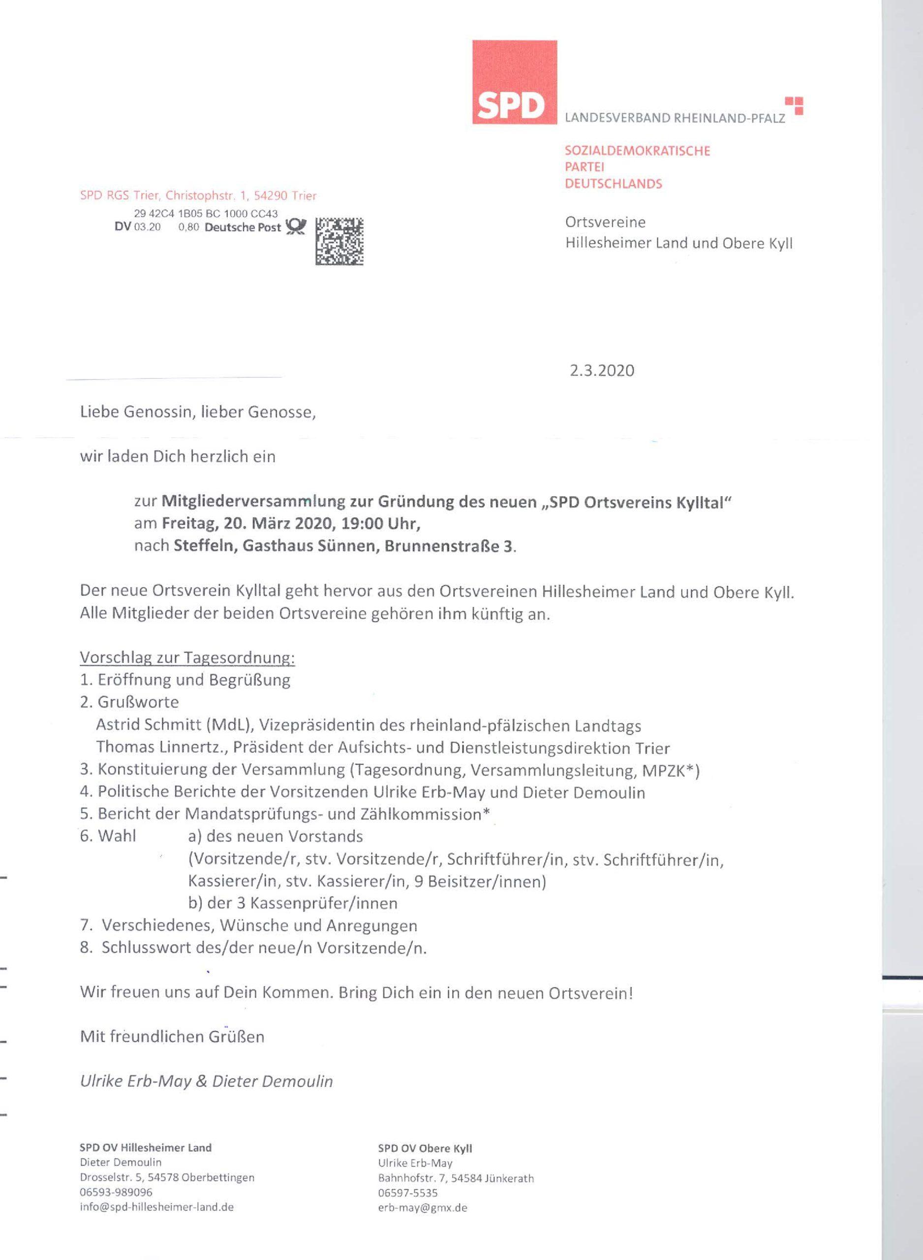 Einladung zur SPD-Mitgliederversammlung