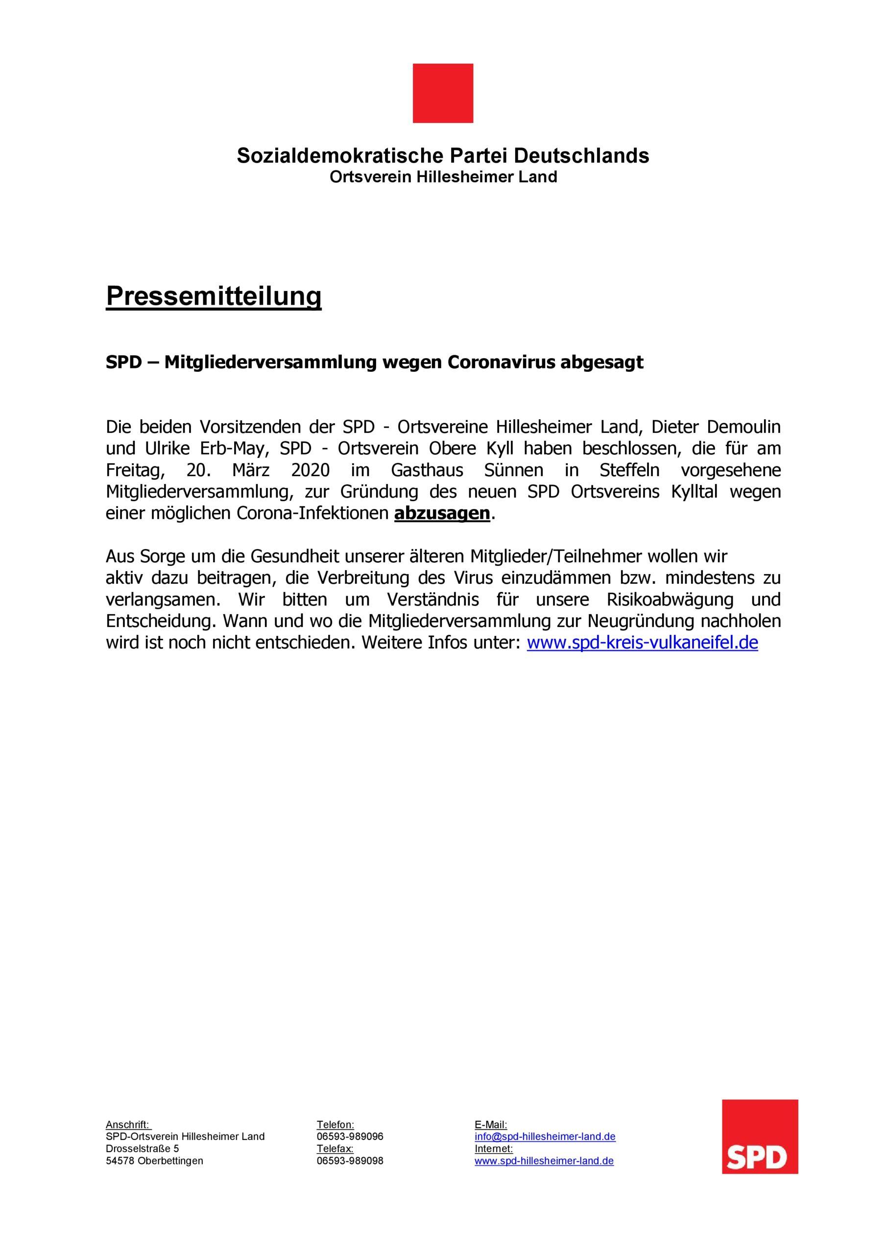 SPD - Pressemitteilung _ Absage der gemeinsamen Mitgliederversammlung 20.03.2020
