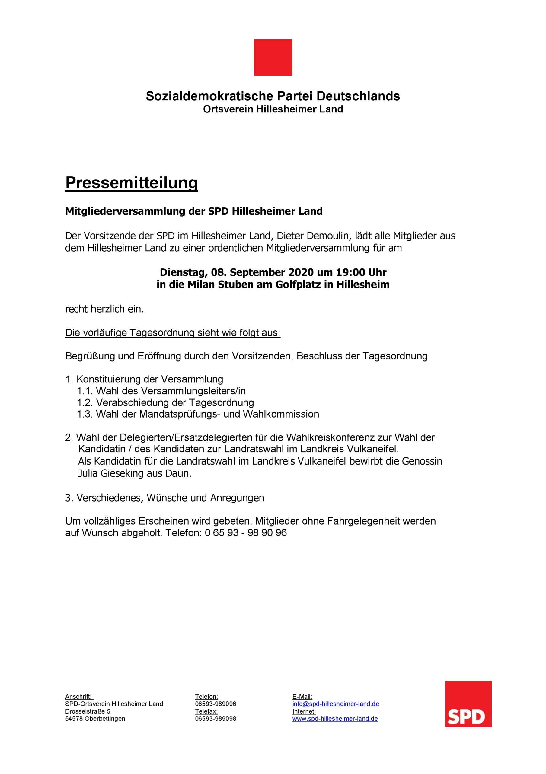 Mitgliederversammlung am 08.09.2020