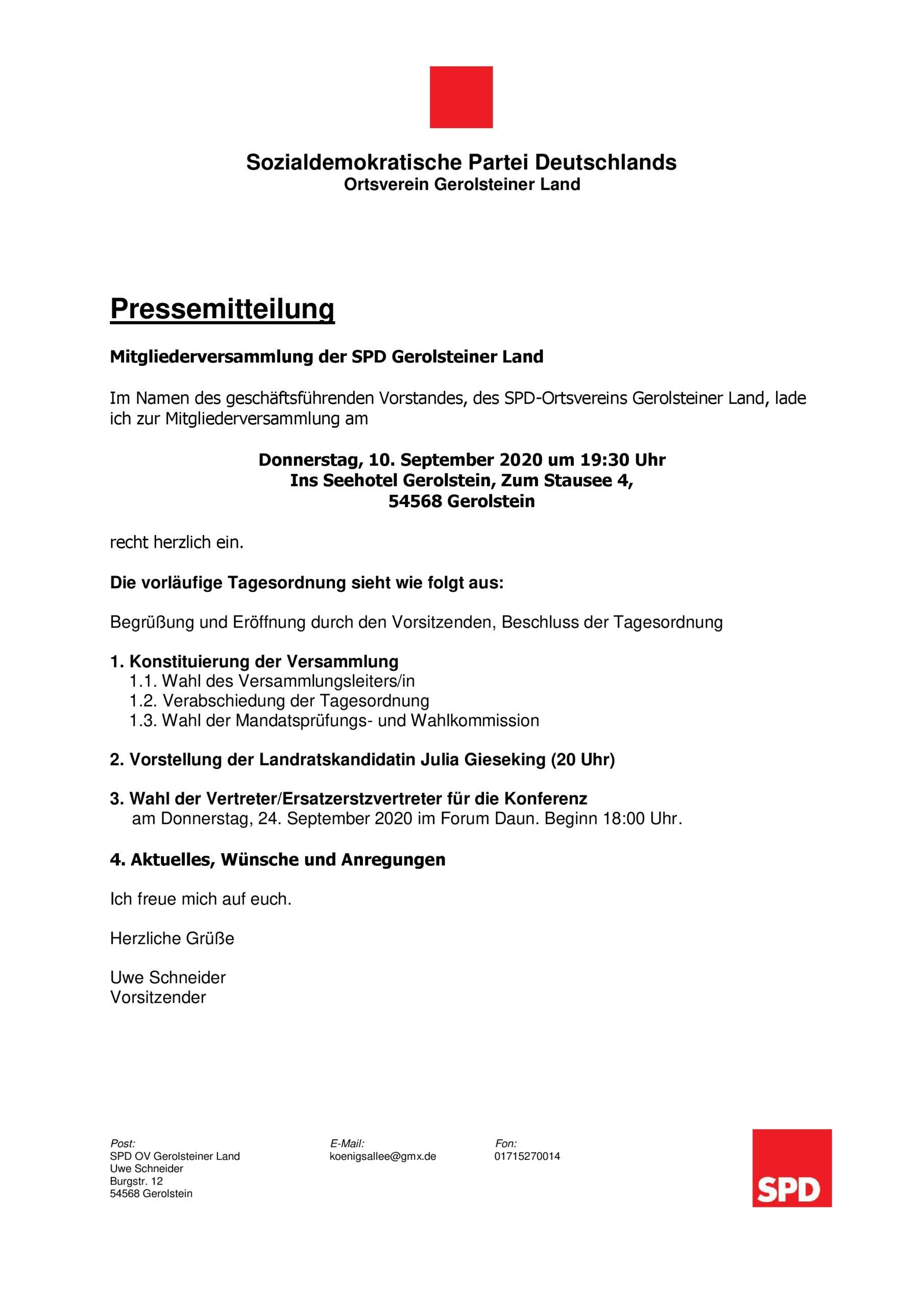 Mitgliederversammlung der SPD Gerolsteiner Land am 10.09.2020