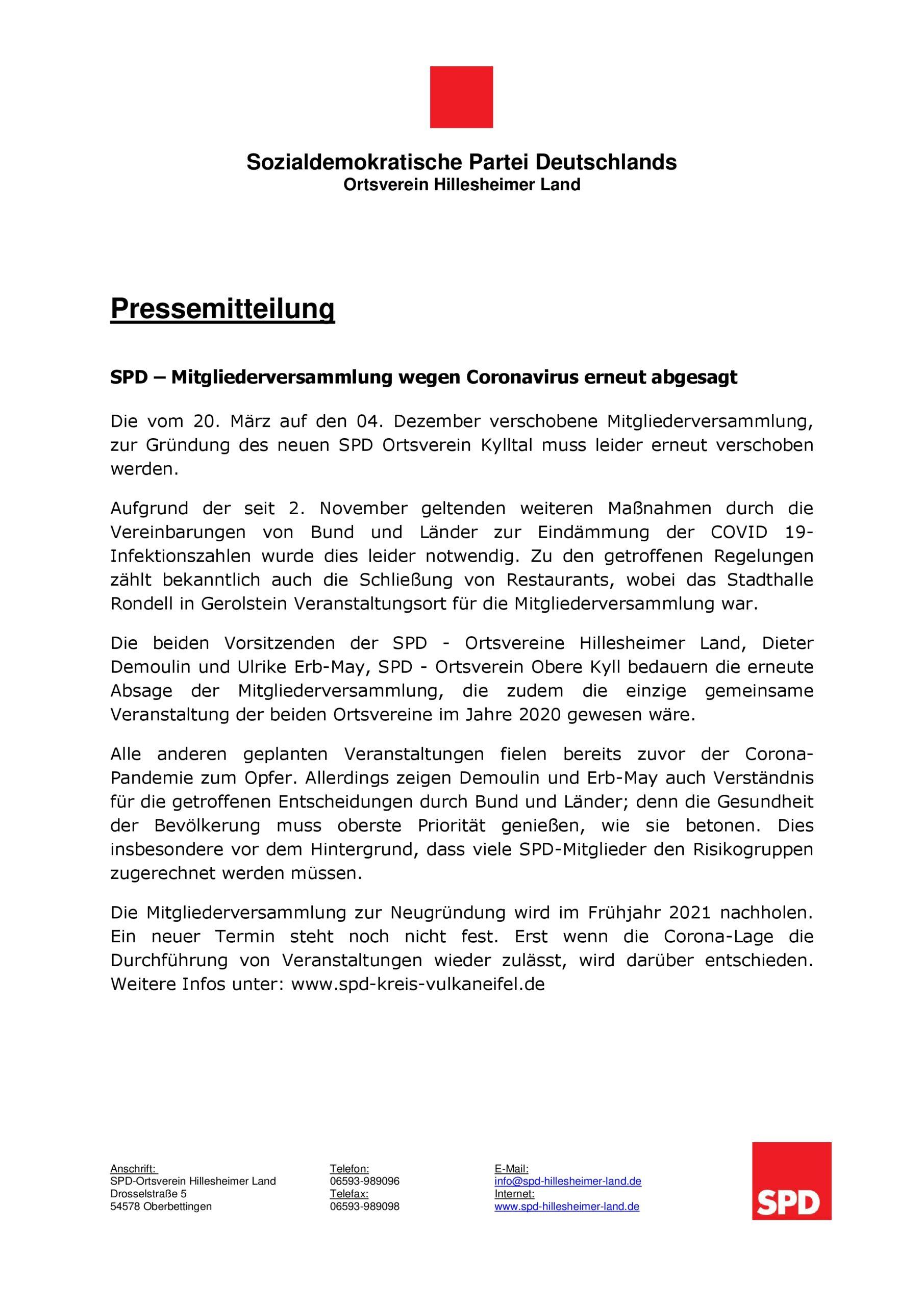 SPD – Mitgliederversammlung wegen Coronavirus erneut abgesagt